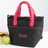 Pink & Black Embroidered Lunch Bag- Name - 14831-N