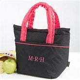 Pink & Black Embroidered Lunch Bag- Monogram - 14831-M