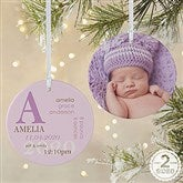 2-Sided All About Baby Photo Personalized Birth Ornament- Large - 14842-2L