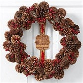 Happy Holidays Personalized Pinecone Winterberry Wreath
