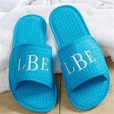 Embroidered Aqua Waffle Weave Spa Slippers- Monogram - 14847-M