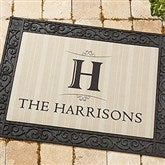 Elegant Monogram Recycled Rubber Back Personalized Doormat - 14870