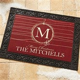 Holiday Wreath Recycled Rubber Back Personalized Doormat - 14872