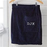Men's Embroidered Navy Velour Towel Wrap- Monogram - 14902-M