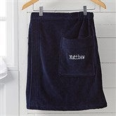 Men's Embroidered Navy Velour Towel Wrap- Name - 14902-N