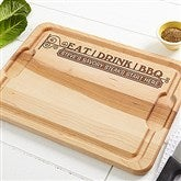 Eat, Drink & BBQ Personalized Maple Cutting Board- 12x17 - 14954