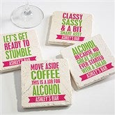 Party It Up Personalized Tumbled Stone Coaster Set - 14964
