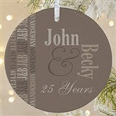 1-Sided Anniversary Memories Personalized Ornament- Large - 14983-1L