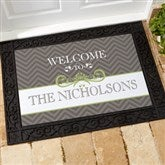 Classic Chevron Personalized Recycled Rubber Back Doormat - 14991-S