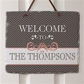 Classic Chevron Personalized Slate Plaque- No Photo - 15024