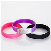 Personalized Girls Youth Silicone Medical Bracelet 4pc Set - 15037