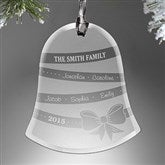 Holiday Ribbon Personalized Glass Bell Ornament