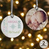 2-Sided Darling Baby Photo Personalized Ornament - 15082-2
