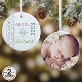 2-Sided Darling Baby Photo Personalized Ornament - Small - 15082-2