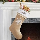 Rustic Snowflake Burlap Embroidered Stocking - 15107-S