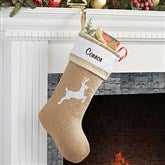 Rustic Reindeer Burlap Embroidered Stocking - 15107-R