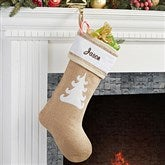 Rustic Tree Burlap Embroidered Stocking - 15107