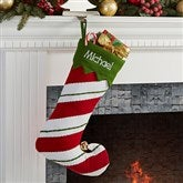 Jolly Jester Embroidered Stocking- Stripes - 15110-S