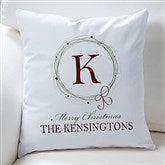 Holiday Wreath Personalized Keepsake Pillow - 15119