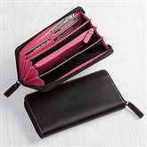 Sleek Debossed Leather Fan Wallet