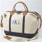Luxurious Weekender Embroidered Canvas Duffel- Monogram - 15171-M