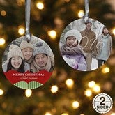 2-Sided Classic Holiday Personalized Photo Ornament - 15248-2