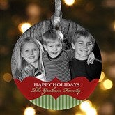 1-Sided Classic Holiday Personalized Photo Ornament - 15248-1