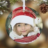 1-Sided Holiday Wreath Personalized Photo Ornament - 15252-1