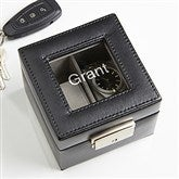 Leather 2 Slot Personalized Watch Box- Name - 15257-N