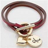 Raspberry Leather Wrap Bracelet with Gold Charms - 15276D