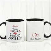 You Make My Heart Smile Personalized Coffee Mug 11oz.- Black - 15314-B