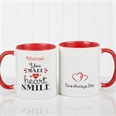 You Make My Heart Smile Personalized Coffee Mug 11oz.- Red - 15314-R