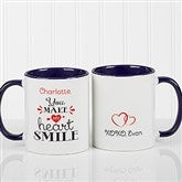 You Make My Heart Smile Personalized Coffee Mug 11oz.- Blue - 15314-BL