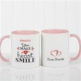 You Make My Heart Smile Personalized Coffee Mug 11oz.- Pink - 15314-P