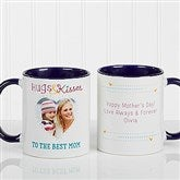 Hugs & Kisses Personalized Photo Coffee Mug 11oz.- Blue - 15320-BL