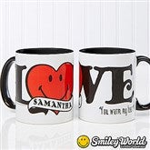 SmileyWorld® Personalized Love Black Handle Coffee Mug- 11 oz. - 15332-B