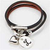 Black Leather Wrap Personalized Charm Bracelet - 15345D