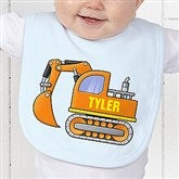 Construction Trucks Personalized Baby Bib - 15412-B