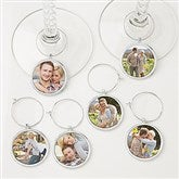 Personalized Photo Wine Charm 6 pc Set