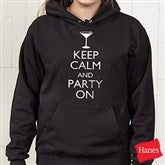 Keep Calm Personalized Black Hooded Sweatshirt - 15458-BHS