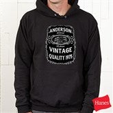 Whiskey Label Personalized Black Hooded Sweatshirt - 15464-BHS