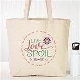 Live, Love, Spoil Personalized Canvas Tote - 15475