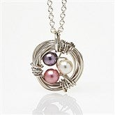 Birthstone Bird Nest Necklace - 15586D
