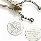 Compass Inspired Silver-Plated Personalized Key Ring - 15590
