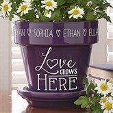 Love Grows Here Personalized Flower Pot- Purple - 15622-P