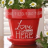 Love Grows Here Personalized Flower Pot- Red - 15622-R