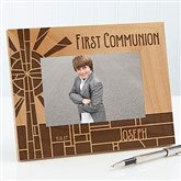 First Communion Stained Glass Personalized Picture Frame- 4 x 6 - 15680-S