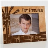 First Communion Stained Glass Personalized Picture Frame- 5 x 7 - 15680-M