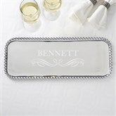 Mariposa® String of Pearls Personalized Rectangle Serving Tray - 15682