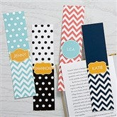 Preppy Chic Personalized Paper Bookmarks Set of 4 - 15715